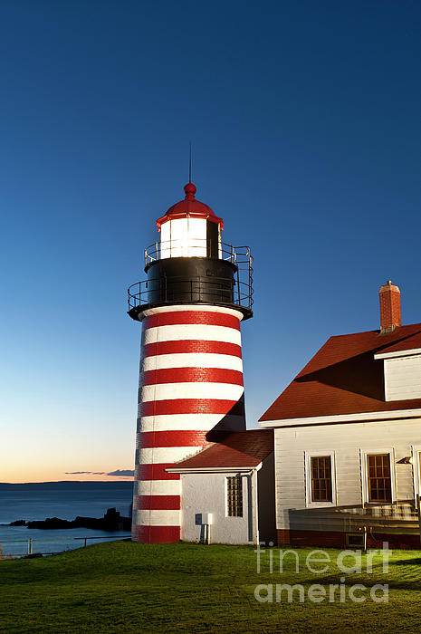 West Quoddy Head Lighthouse Maine Print by John Greim