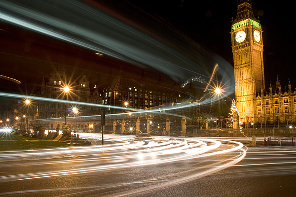 Westminster Lights Print by Copyright Michael Spry