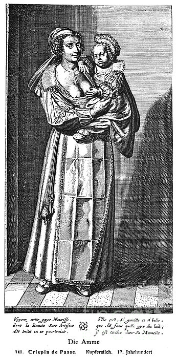 Wet Nurse, 17th Century Print by Granger