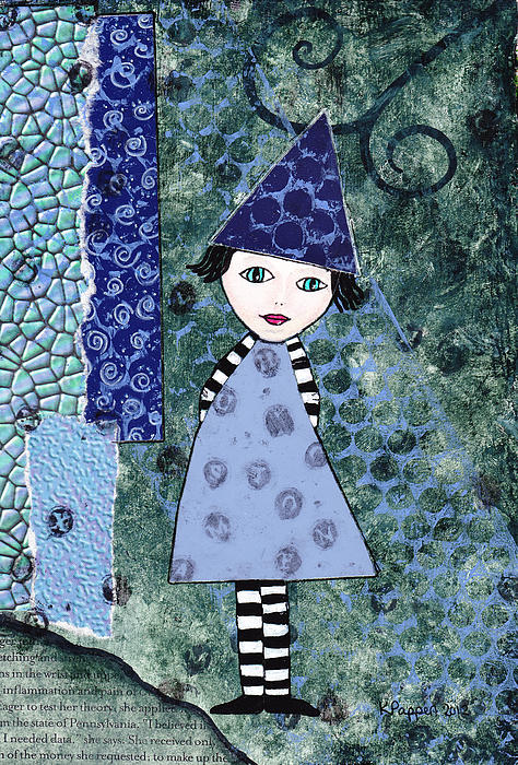 Whimsical Blue Girl Mixed Media Collage Print by Karen Pappert