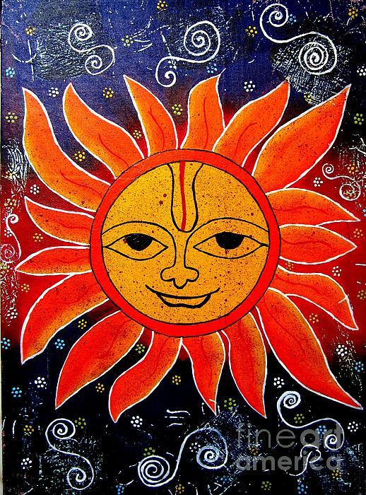 Whimsical Painting-whimsical Sun God Print by Priyanka Rastogi