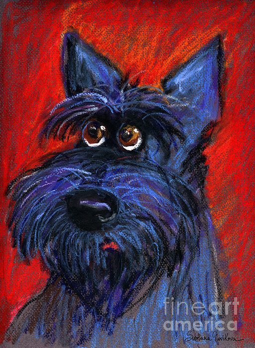 whimsical Schnauzer dog painting Print by Svetlana Novikova
