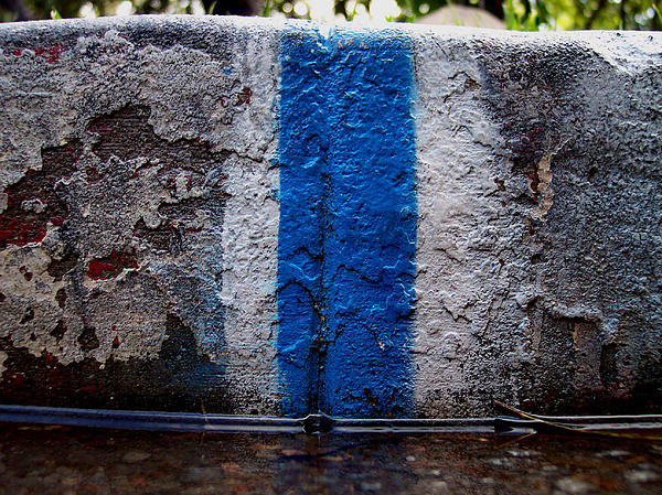 Whit Blue Curb Print by Ludmil Dimitrov
