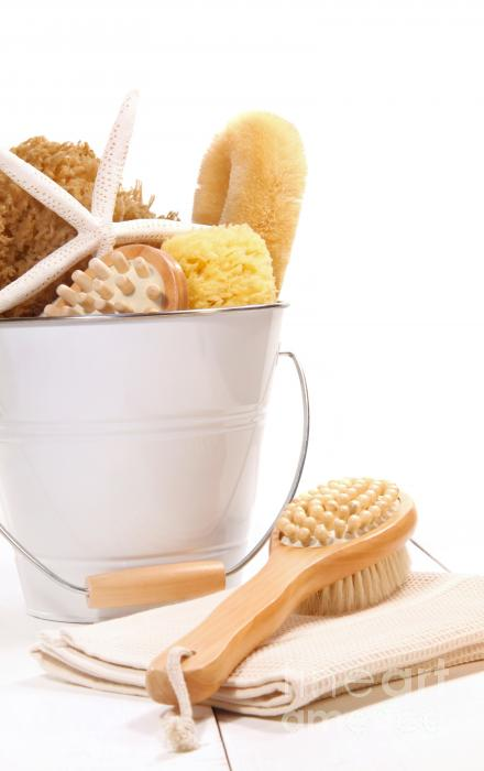 White Bucket Filled With Sponges And Scrub Brushes  Print by Sandra Cunningham