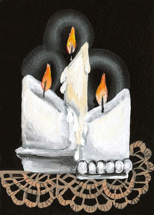 White Candle Trio Print by Elaine Hodges