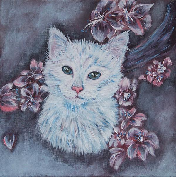White Cat Print by Elena Melnikova