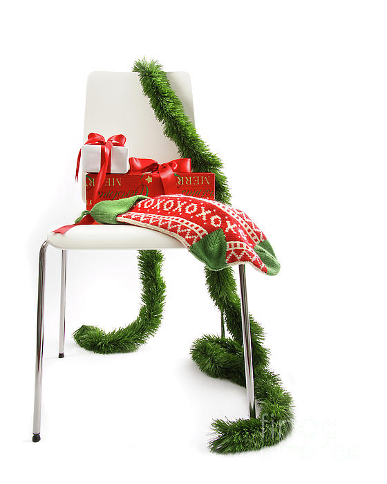 White Chair With Gifts And Garland On White  Print by Sandra Cunningham