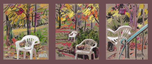 White Chairs And Birdhouses 1 Print by Donald Maier