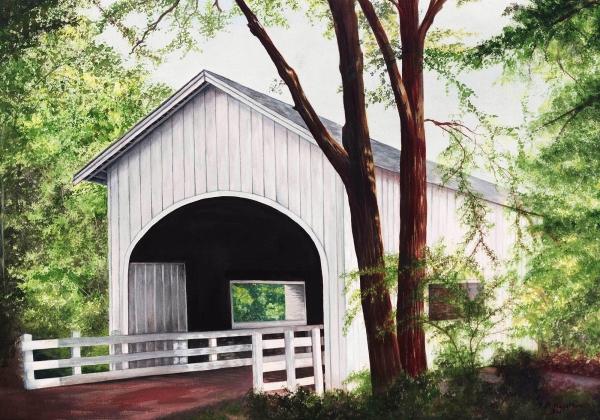 White Covered Bridge Painting