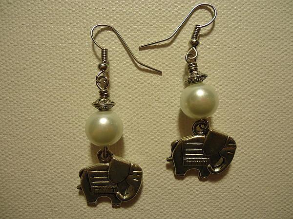 White Elephant Earrings Print by Jenna Green