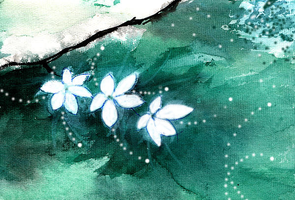 White Flowers Print by Anil Nene