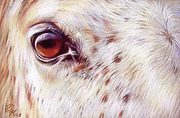 White Horse Close-up Print by Elena Kolotusha