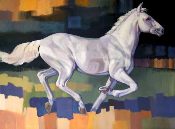 White Horse2 Print by Farhan Abouassali