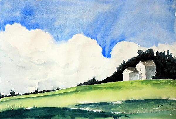 White Mountain Farmhouse Print by Rachel Dutton
