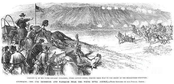 White River Attack, 1879 Print by Granger