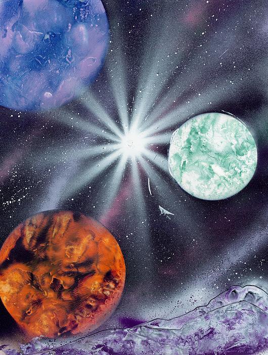 White Star Burst Print by Marc Chambers