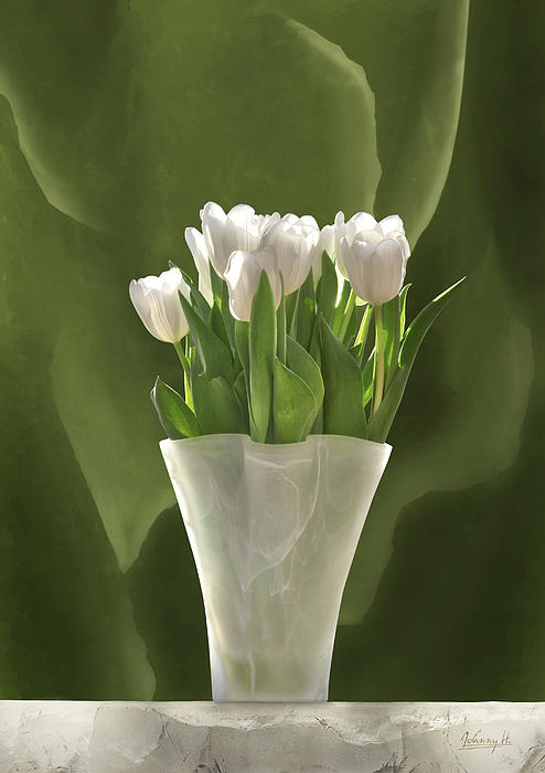 White Tulips Print by Johnny Hildingsson