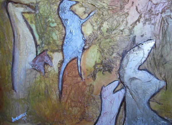 Wild Horses On A Cave Wall Painting  - Wild Horses On A Cave Wall Fine Art Print