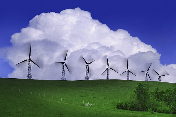 Wind Generators With Clouds In Print by Don Hammond