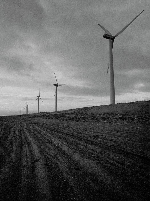 Wind Turbine Plant On Beach Print by KUJIRAI kentaro