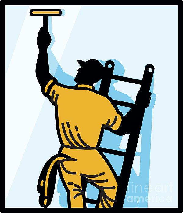 Window Cleaner Worker Cleaning Ladder Retro Print by Aloysius Patrimonio