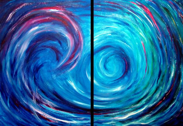 Windswept Blue Wave And Whirlpool 2 Painting  - Windswept Blue Wave And Whirlpool 2 Fine Art Print