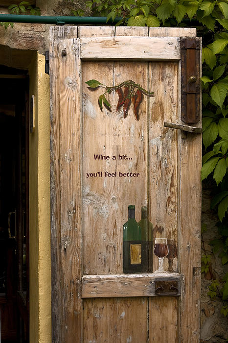 Wine A Bit Door Print by Sally Weigand