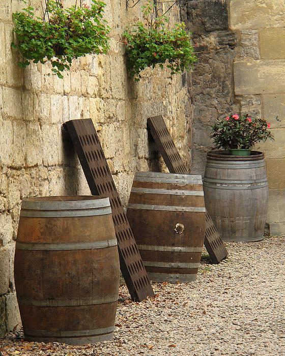 Wine Barrels And Racks In Saint Emilion France Print by Greg Matchick