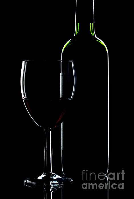 Wine Bottle And Glass Print by Richard Thomas
