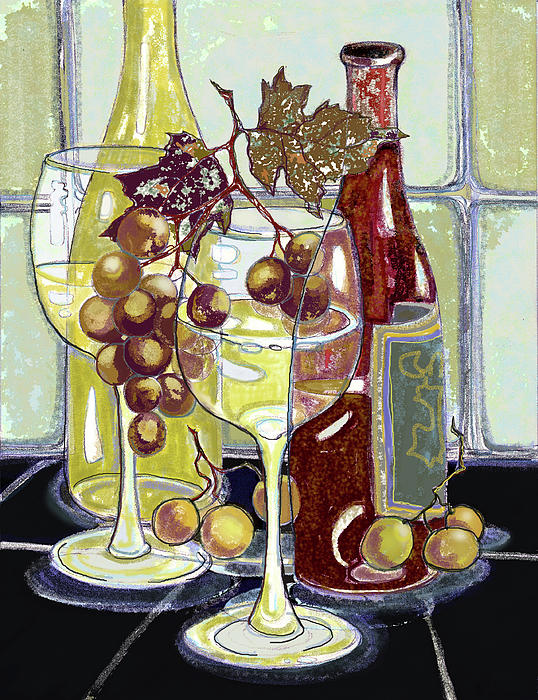 Wine Bottles Grapes And Glasses Print by Peggy Wilson