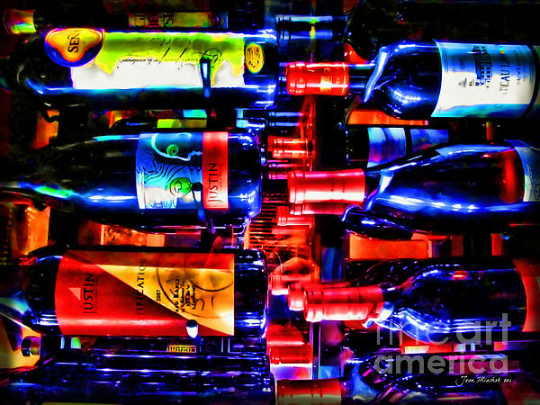 Wine Bottles Print by Joan  Minchak