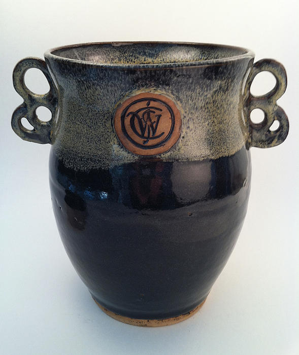 Wine Chiller Or Vase With Licorice And Light Beige Glaze  Print by Carolyn Coffey Wallace