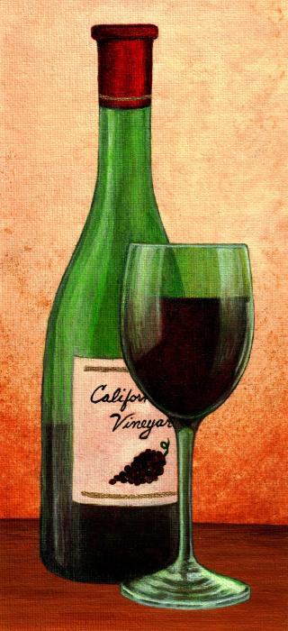 Wine Glass With Bottle By Terry Mulligan