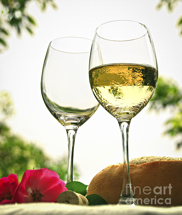 Wine Glasses Print by Elena Elisseeva