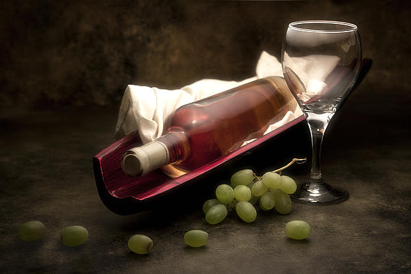 Wine With Grapes And Glass Still Life Print by Tom Mc Nemar