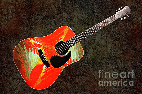 Wings Of Paradise Abstract Guitar Print by Andee Design