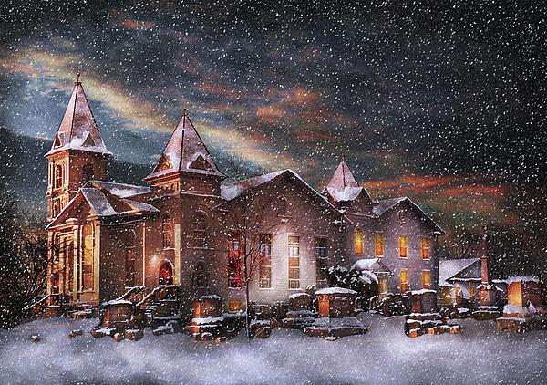 Winter - Clinton Nj - Silent Night  Print by Mike Savad