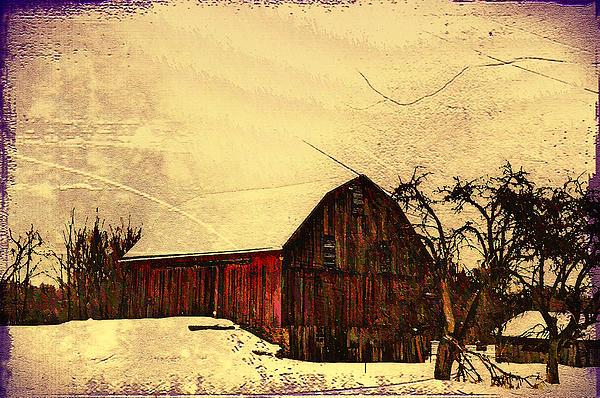 Winter Barn Print by Bill Cannon