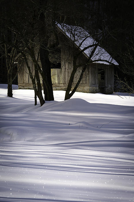 Winter Barn Print by Rob Travis