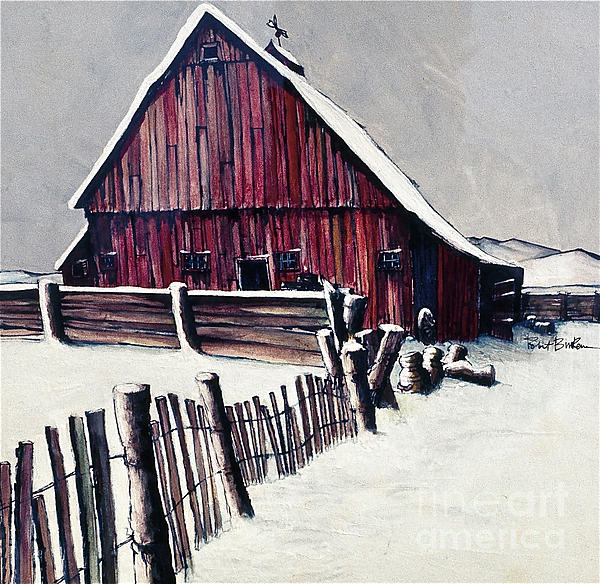 Winter Barn Print by Robert Birkenes