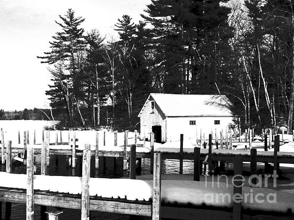 Winter Boathouse Print by Christy Bruna