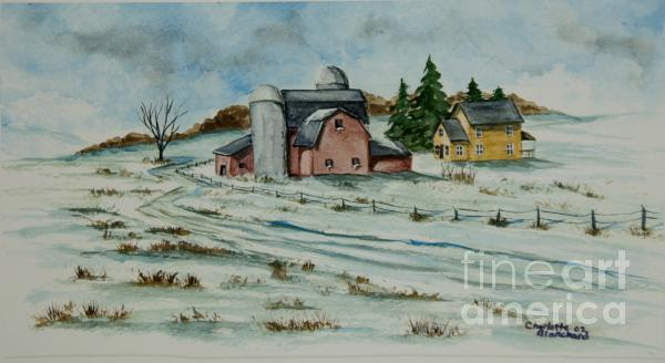 Winter Down On The Farm Painting  - Winter Down On The Farm Fine Art Print
