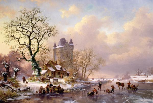 Winter Landscape With Castle Print by Frederick Marianus Kruseman