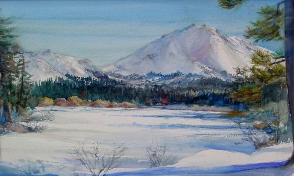 Winter Manzanita Lake Painting  - Winter Manzanita Lake Fine Art Print