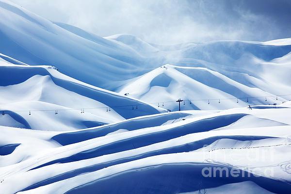 Winter Mountain Ski Resort Print by Anna Omelchenko