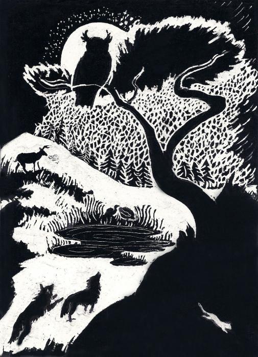 Winter Night Print by Dawn Senior-Trask