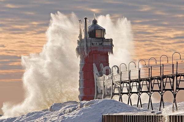 Winter South Haven Lighthouse Print by Dean Pennala