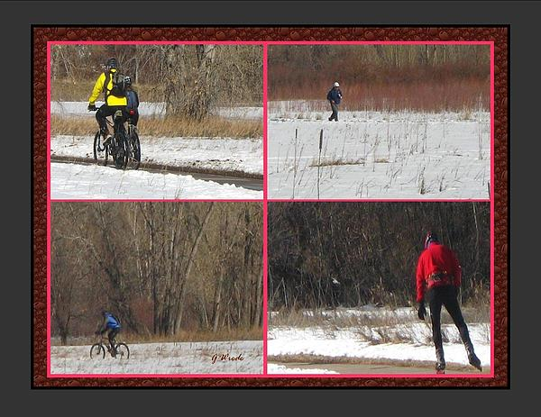 Winter Sports 2 On Bear Creek Trail Print by Gretchen Wrede