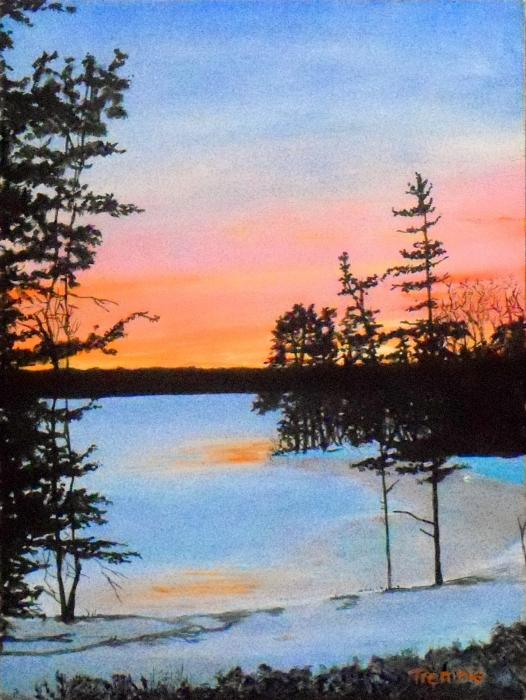 Winter Sunset Laurel Lake Lenox Ma Painting  - Winter Sunset Laurel Lake Lenox Ma Fine Art Print