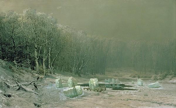 Winter The Laying Off Of Ice Print by Arseniy Ivanovich Meshchersky